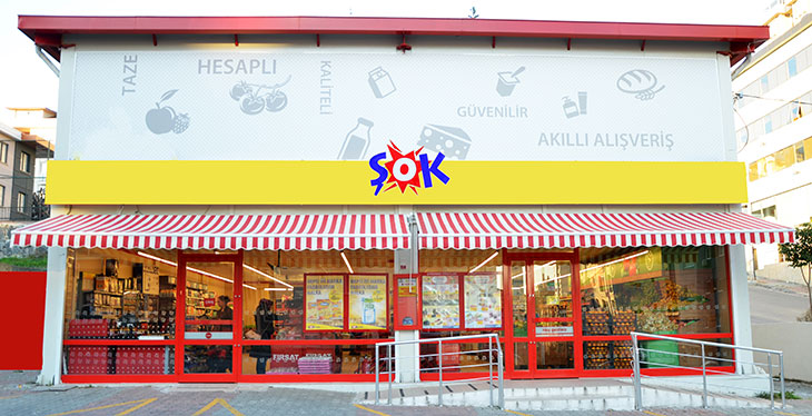 "Şok Marketler meets nearly all customer needs in a ""one-stop shop"" concept at a sales point located near consumers' homes, with 6.642 stores, 26 distiribution centers and c.28.000 employees across Turkey's 81 proviences."